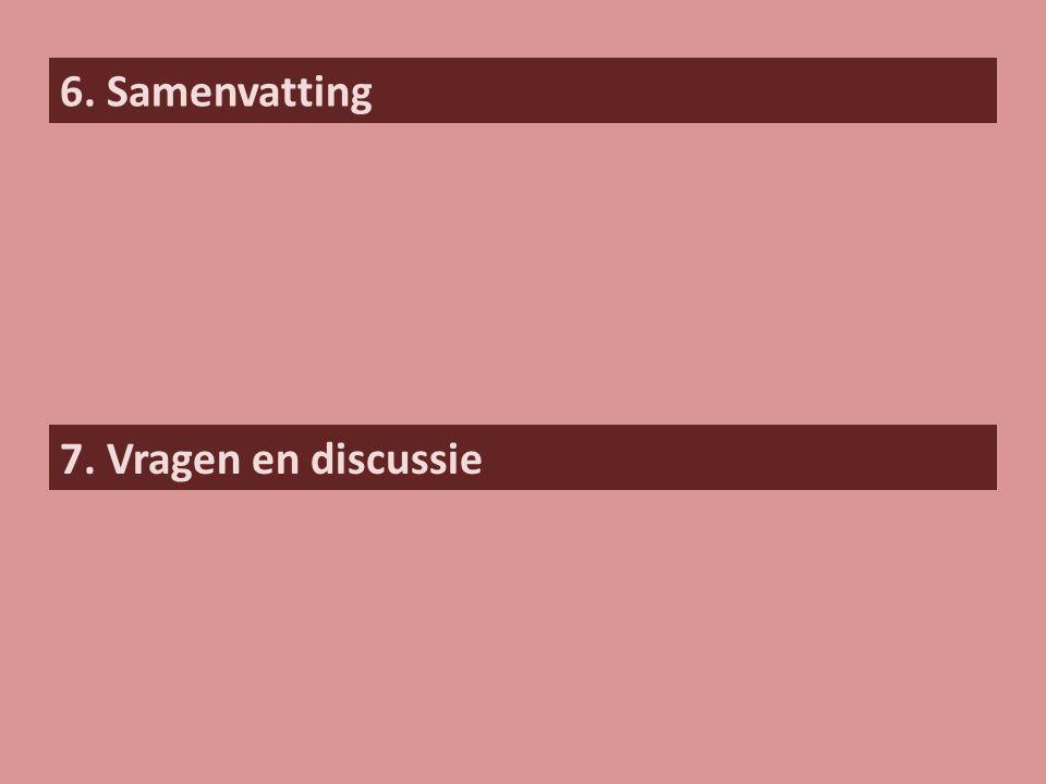 6. Samenvatting 7. Vragen en discussie