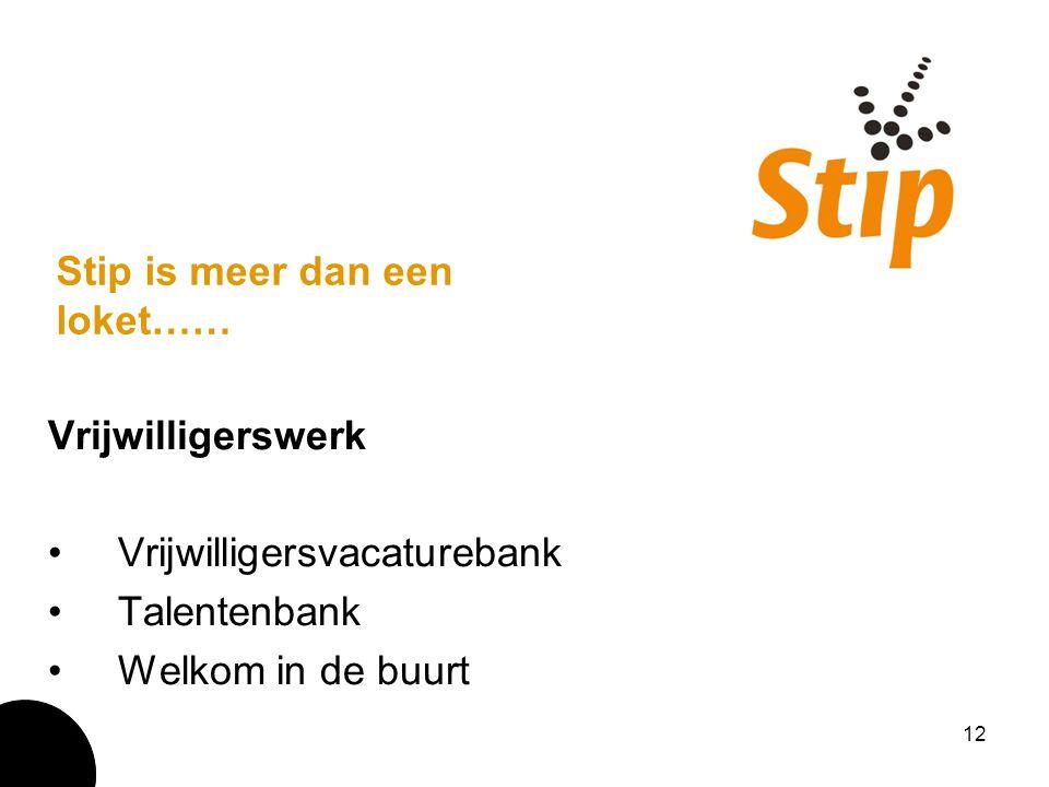 12 Stip is meer dan een loket…… Vrijwilligerswerk Vrijwilligersvacaturebank Talentenbank Welkom in de buurt