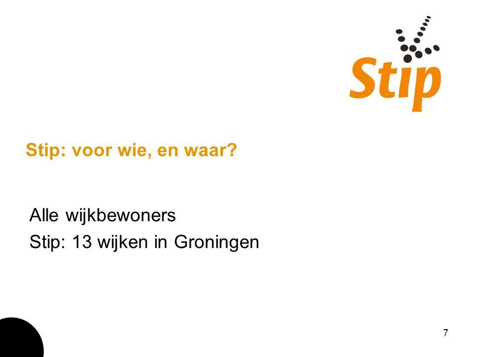 7 Stip: voor wie, en waar? Alle wijkbewoners Stip: 13 wijken in Groningen