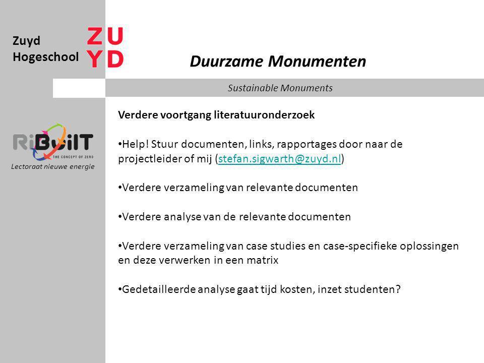 Zuyd Hogeschool Lectoraat nieuwe energie Duurzame Monumenten Sustainable Monuments Verdere voortgang literatuuronderzoek Help.