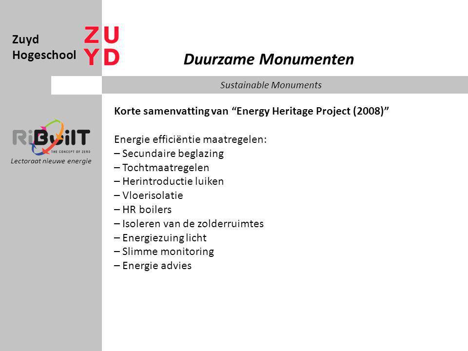 Zuyd Hogeschool Lectoraat nieuwe energie Duurzame Monumenten Sustainable Monuments Korte samenvatting van Energy Heritage Project (2008) Ramen veroorzaken slechts 10% van het warmteverlies in een woning, dus is dit wel een probleem? Bewoners denken van wel.