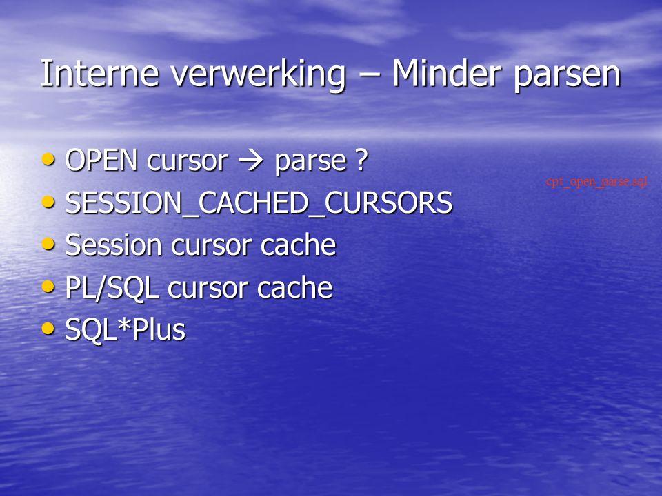 Interne verwerking – Minder parsen OPEN cursor  parse .