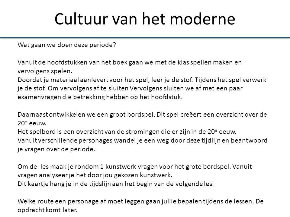 Cultuur van het moderne Wat gaan we doen deze periode.