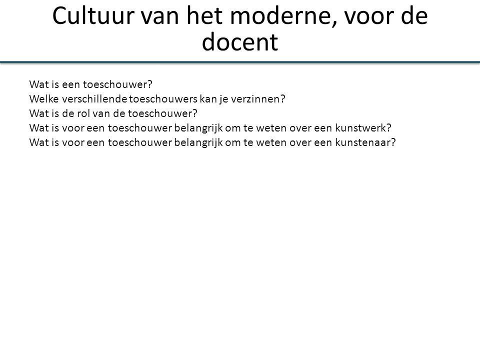 Cultuur van het moderne, voor de docent Wat is een toeschouwer? Welke verschillende toeschouwers kan je verzinnen? Wat is de rol van de toeschouwer? W