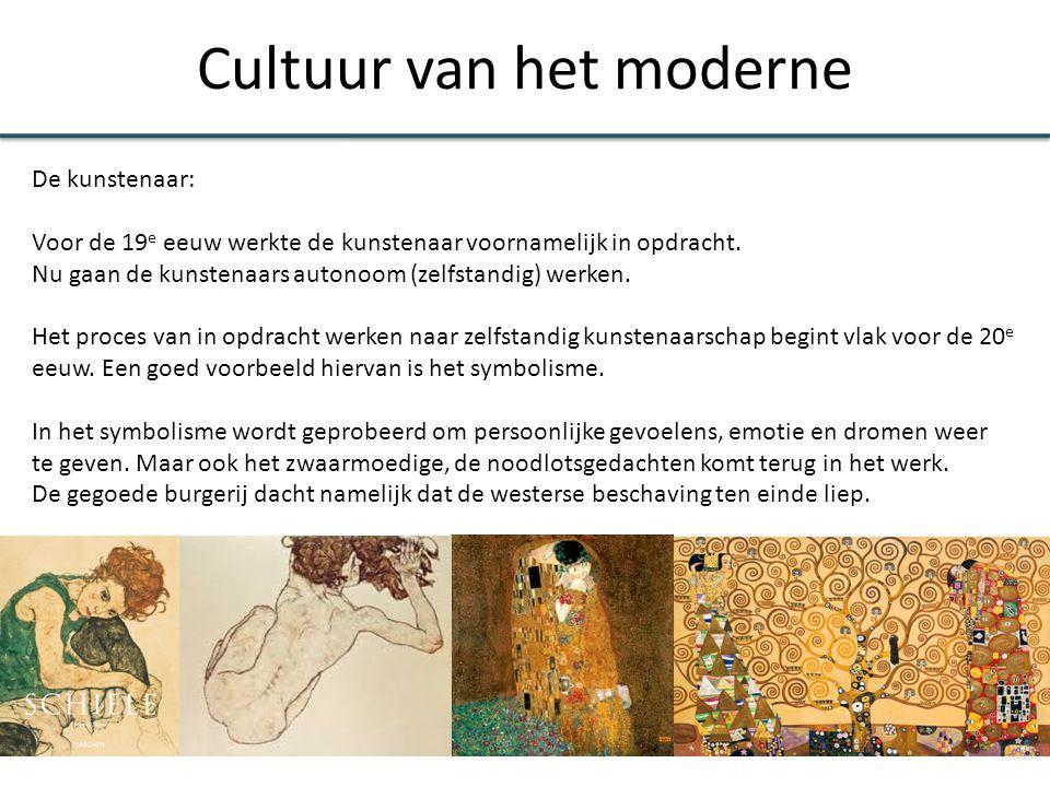 Cultuur van het moderne De kunstenaar: Voor het ontwikkelen van nieuwe ideeën voor de kunst komt veel inspiratie van denkers uit de 20 e eeuw: - Nietzsche, dionysische en apollinisch, meer individualistisch.