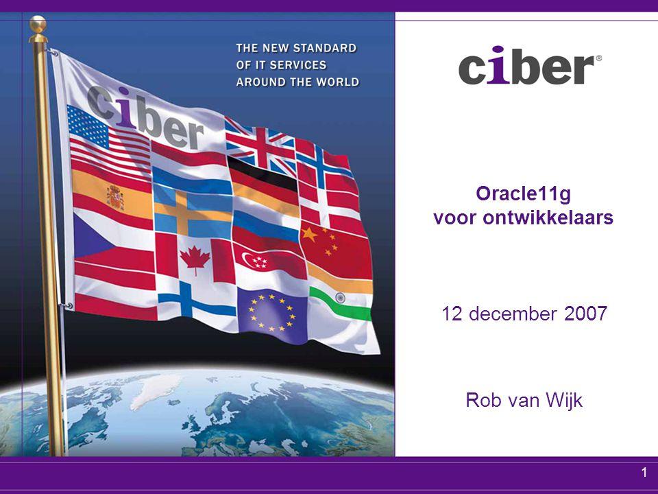 1 Oracle11g voor ontwikkelaars 12 december 2007 Rob van Wijk
