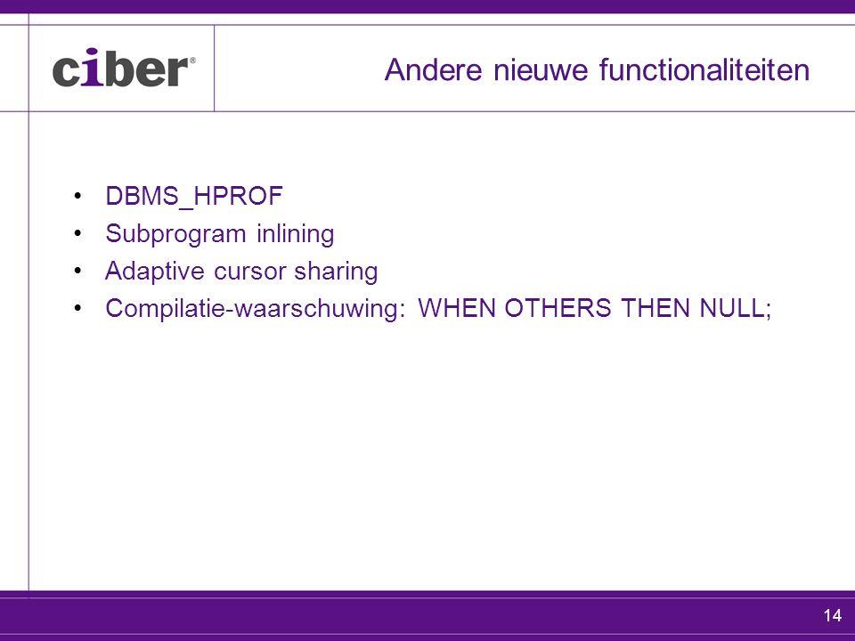 14 Andere nieuwe functionaliteiten DBMS_HPROF Subprogram inlining Adaptive cursor sharing Compilatie-waarschuwing: WHEN OTHERS THEN NULL;