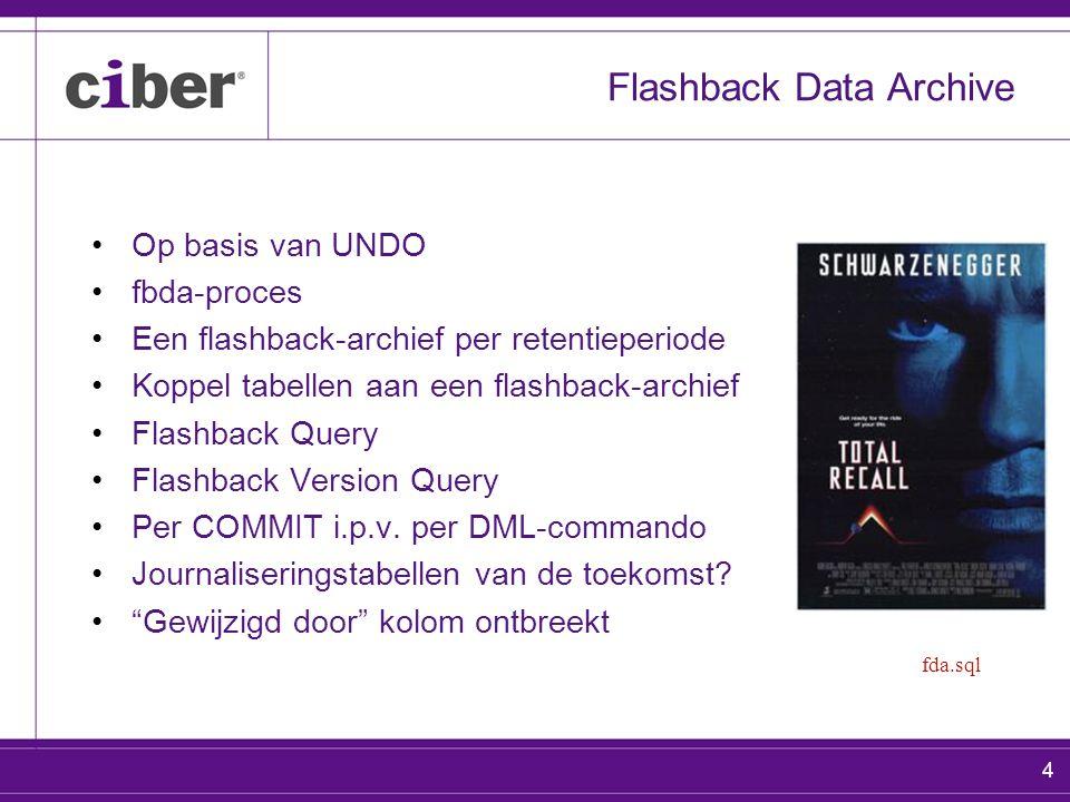 4 Flashback Data Archive Op basis van UNDO fbda-proces Een flashback-archief per retentieperiode Koppel tabellen aan een flashback-archief Flashback Q