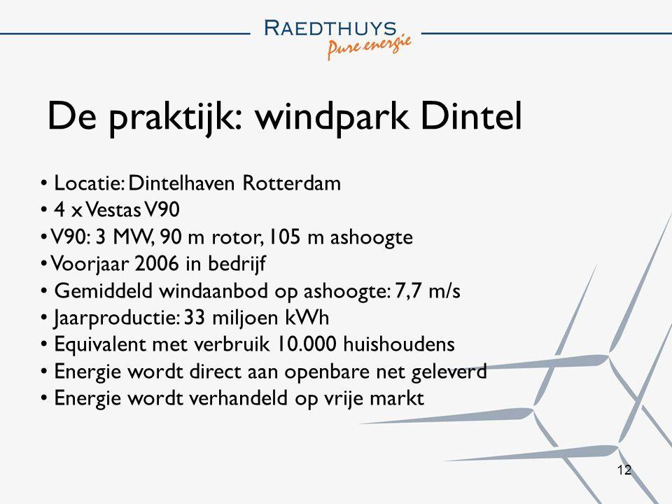 12 De praktijk: windpark Dintel Locatie: Dintelhaven Rotterdam 4 x Vestas V90 V90: 3 MW, 90 m rotor, 105 m ashoogte Voorjaar 2006 in bedrijf Gemiddeld windaanbod op ashoogte: 7,7 m/s Jaarproductie: 33 miljoen kWh Equivalent met verbruik 10.000 huishoudens Energie wordt direct aan openbare net geleverd Energie wordt verhandeld op vrije markt