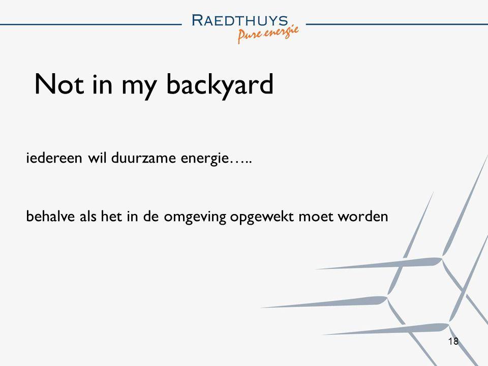 18 Not in my backyard iedereen wil duurzame energie…..