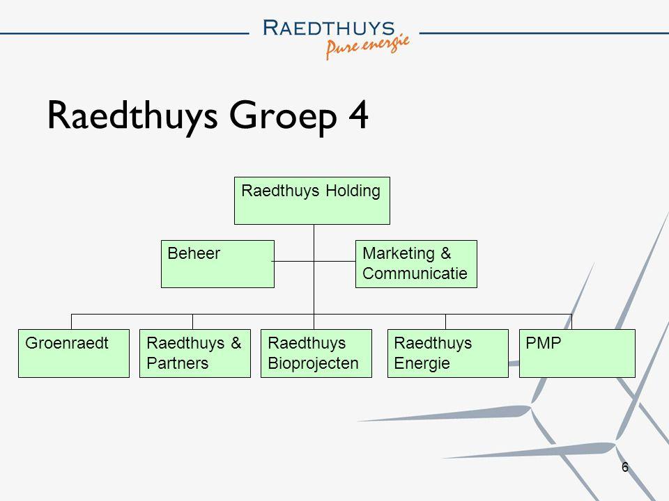 6 Raedthuys Groep 4 Raedthuys Holding PMPRaedthuys Energie Raedthuys & Partners Groenraedt BeheerMarketing & Communicatie Raedthuys Bioprojecten