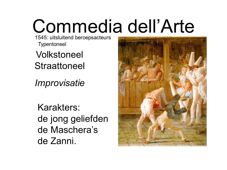 Commedia dell'Arte Karakters: de jong geliefden de Maschera's de Zanni. Improvisatie Volkstoneel Straattoneel 1545: uitsluitend beroepsacteurs Typento