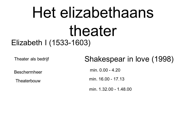 Het elizabethaans theater Elizabeth I (1533-1603) Beschermheer Theater als bedrijf Theaterbouw Shakespear in love (1998) min. 0.00 - 4.20 min. 16.00 -