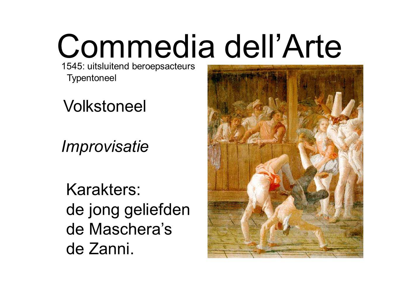 Commedia dell'Arte Karakters: de jong geliefden de Maschera's de Zanni. Improvisatie Volkstoneel 1545: uitsluitend beroepsacteurs Typentoneel