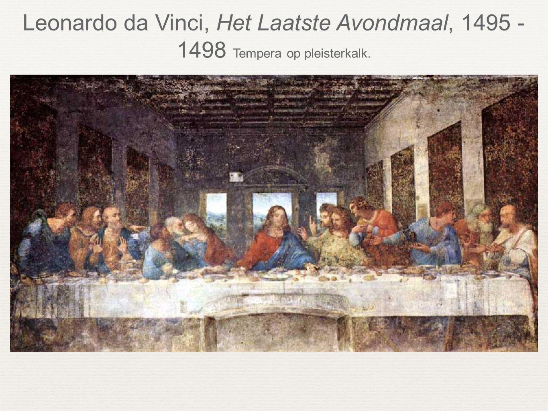 Leonardo da Vinci, Het Laatste Avondmaal, 1495 - 1498 Tempera op pleisterkalk.