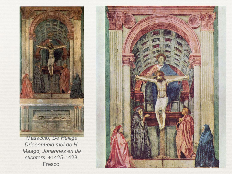 Masaccio, De Heilige Drieëenheid met de H. Maagd, Johannes en de stichters, ±1425-1428, Fresco.