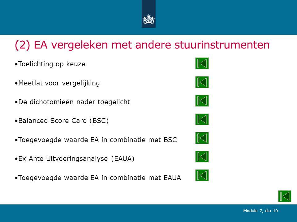Module 7, dia 10 (2) EA vergeleken met andere stuurinstrumenten Toelichting op keuze Meetlat voor vergelijking De dichotomieën nader toegelicht Balanced Score Card (BSC) Toegevoegde waarde EA in combinatie met BSC Ex Ante Uitvoeringsanalyse (EAUA) Toegevoegde waarde EA in combinatie met EAUA