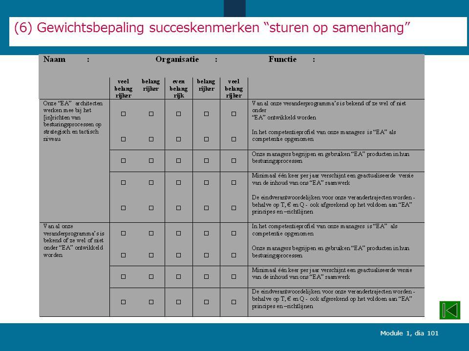 Module 1, dia 101 (6) Gewichtsbepaling succeskenmerken sturen op samenhang