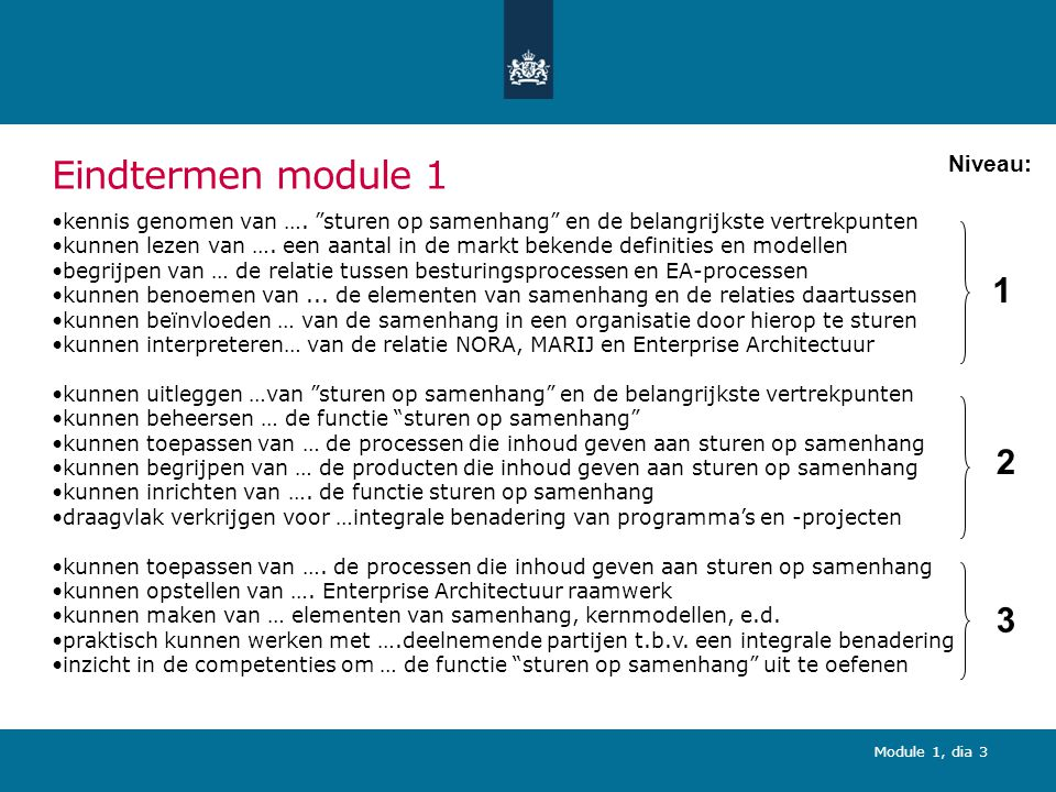 Module 1, dia 94 (5) Sturen op samenhang als middel voor hergebruik oplossingen: opdracht Geef een voorbeeld van een vraagstuk uit uw eigen organisatie en licht dit vraagstuk beknopt toe.