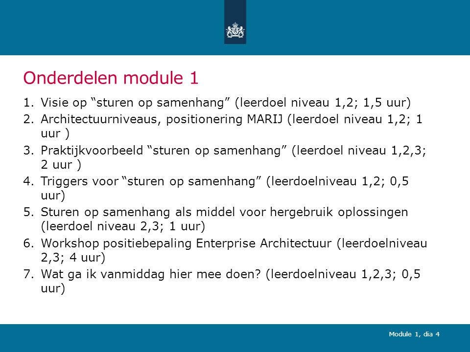 Module 1, dia 75 (2) Bedrijfsfunctiemodel Rijksdienst