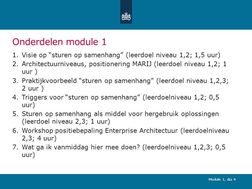 Module 1, dia 4 Onderdelen module 1 1.Visie op sturen op samenhang (leerdoel niveau 1,2; 1,5 uur) 2.Architectuurniveaus, positionering MARIJ (leerdoel niveau 1,2; 1 uur ) 3.Praktijkvoorbeeld sturen op samenhang (leerdoel niveau 1,2,3; 2 uur ) 4.Triggers voor sturen op samenhang (leerdoelniveau 1,2; 0,5 uur) 5.Sturen op samenhang als middel voor hergebruik oplossingen (leerdoel niveau 2,3; 1 uur) 6.Workshop positiebepaling Enterprise Architectuur (leerdoelniveau 2,3; 4 uur) 7.Wat ga ik vanmiddag hier mee doen.