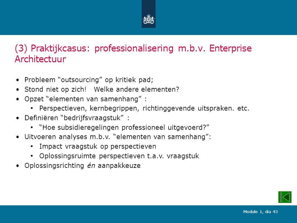 Module 1, dia 43 (3) Praktijkcasus: professionalisering m.b.v.