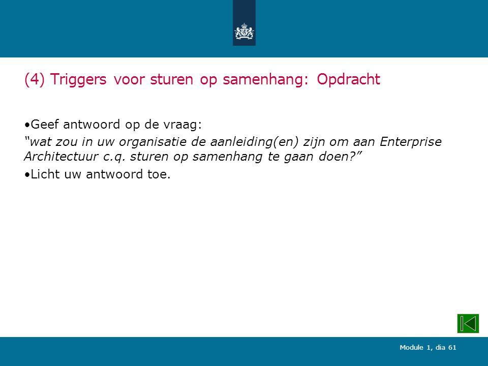 Module 1, dia 61 (4) Triggers voor sturen op samenhang: Opdracht Geef antwoord op de vraag: wat zou in uw organisatie de aanleiding(en) zijn om aan Enterprise Architectuur c.q.