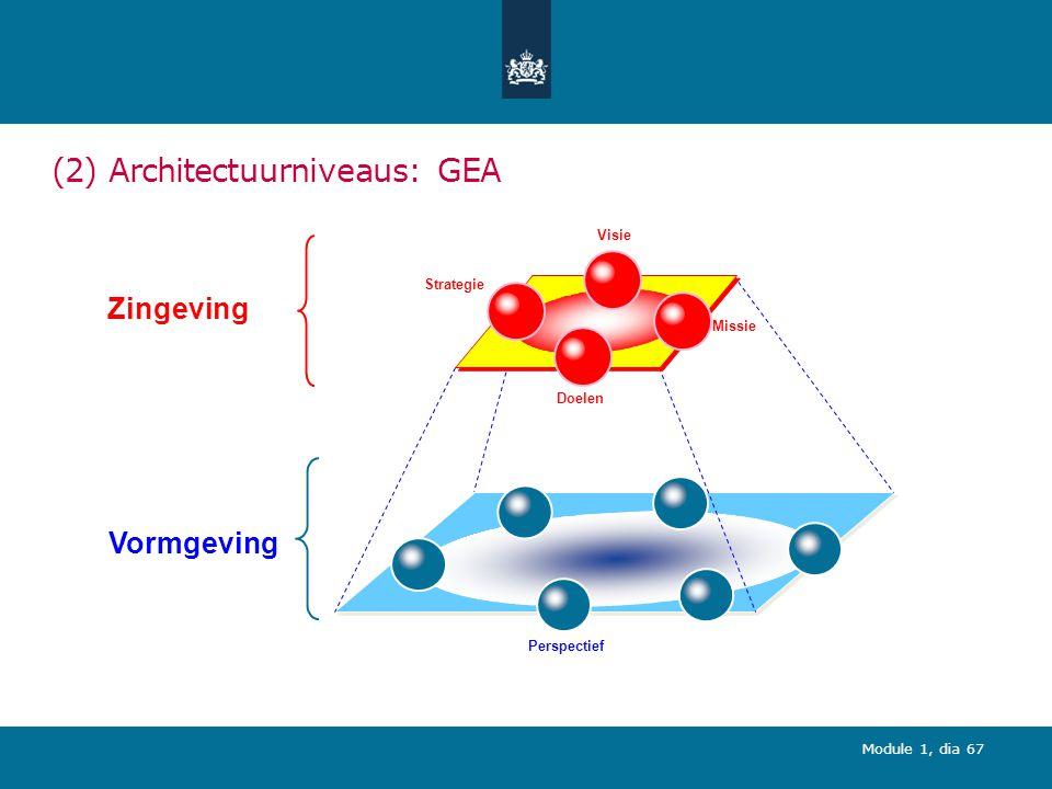 Module 1, dia 67 (2) Architectuurniveaus: GEA Strategie Doelen Missie Visie Vormgeving Zingeving Perspectief