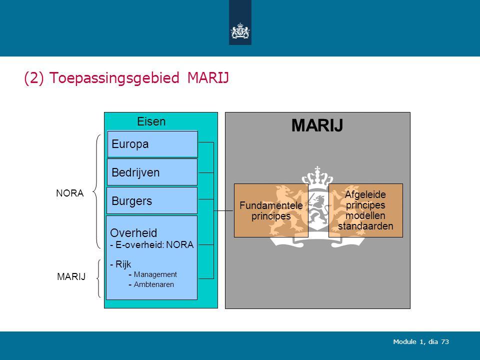 Module 1, dia 73 (2) Toepassingsgebied MARIJ Eisen Europa Bedrijven Burgers Overheid - E-overheid: NORA - Rijk - Management - Ambtenaren NORA MARIJ Fundamentele principes Afgeleide principes modellen standaarden