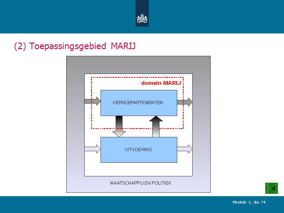 Module 1, dia 74 (2) Toepassingsgebied MARIJ