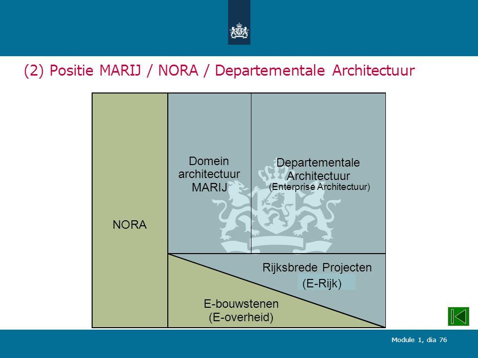 Module 1, dia 76 (2) Positie MARIJ / NORA / Departementale Architectuur NORA Domein architectuur MARIJ Departementale Architectuur (Enterprise Architectuur) E-bouwstenen (E-overheid) Rijksbrede Projecten (E-Rijk)