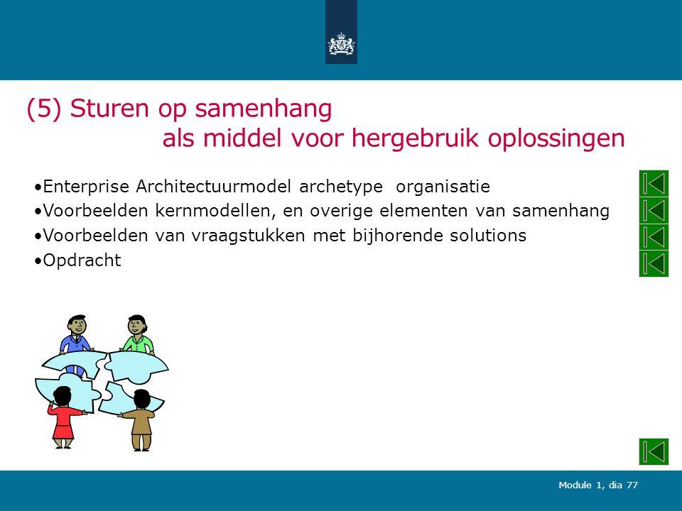 Module 1, dia 77 (5) Sturen op samenhang als middel voor hergebruik oplossingen Enterprise Architectuurmodel archetype organisatie Voorbeelden kernmodellen, en overige elementen van samenhang Voorbeelden van vraagstukken met bijhorende solutions Opdracht