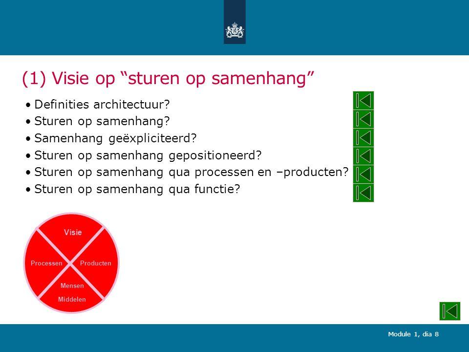 Module 1, dia 29 (1) Sturen op samenhang qua processen en –producten.