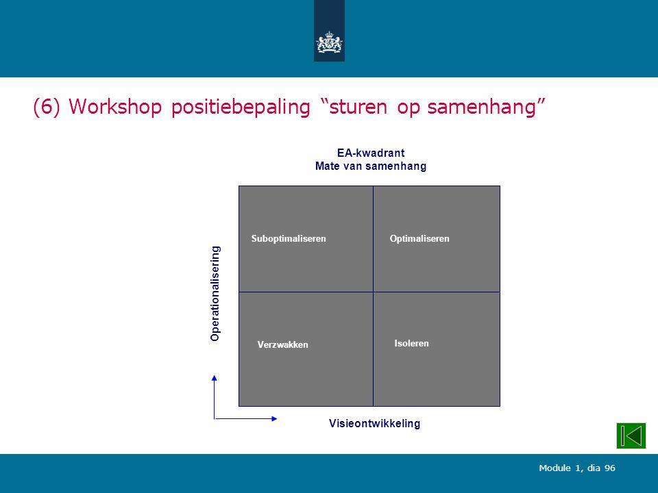Module 1, dia 96 SuboptimaliserenOptimaliseren Verzwakken Isoleren Operationalisering Visieontwikkeling EA-kwadrant Mate van samenhang (6) Workshop positiebepaling sturen op samenhang