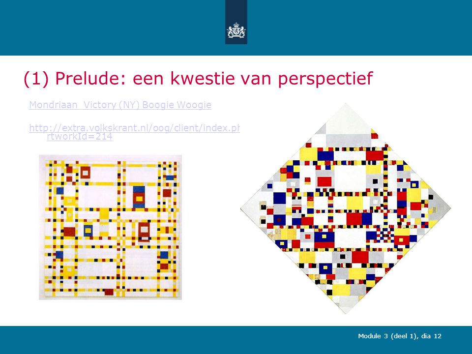 Module 3 (deel 1), dia 12 (1) Prelude: een kwestie van perspectief Mondriaan_Victory (NY) Boogie Woogie http://extra.volkskrant.nl/oog/client/index.php?a rtworkId=214