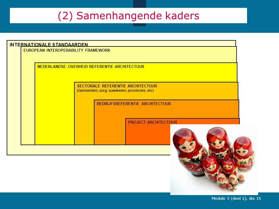 Module 3 (deel 1), dia 15 INTERNATIONALE STANDAARDEN (2) Samenhangende kaders EUROPEAN INTEROPERABILITY FRAMEWORK NEDERLANDSE OVERHEID REFERENTIE ARCHITECTUUR SECTORALE REFERENTIE ARCHITECTUUR (Gemeenten; zorg; suwiketen; provincies; etc) BEDRIJFSREFERENTIE ARCHITECTUUR PROJECT ARCHITECTUUR
