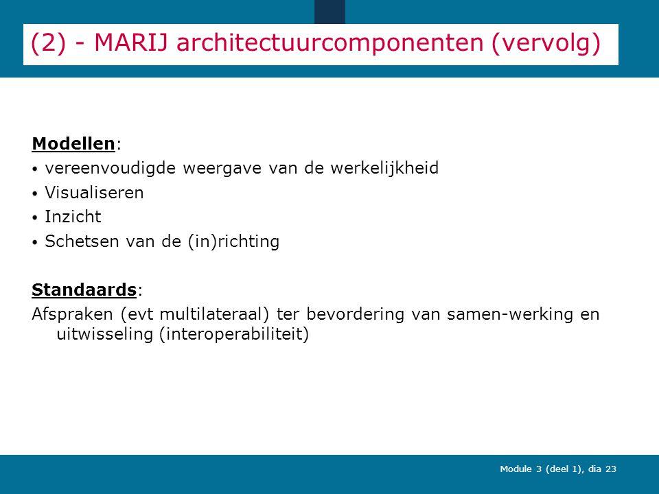 Module 3 (deel 1), dia 23 (2) - MARIJ architectuurcomponenten (vervolg) Modellen: vereenvoudigde weergave van de werkelijkheid Visualiseren Inzicht Schetsen van de (in)richting Standaards: Afspraken (evt multilateraal) ter bevordering van samen-werking en uitwisseling (interoperabiliteit)