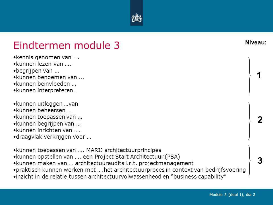 Module 3 (deel 1), dia 3 Eindtermen module 3 kennis genomen van ….