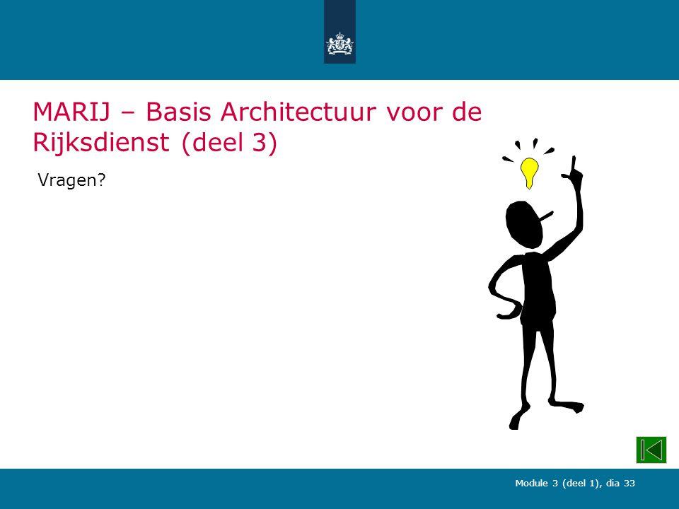Module 3 (deel 1), dia 33 MARIJ – Basis Architectuur voor de Rijksdienst (deel 3) Vragen?