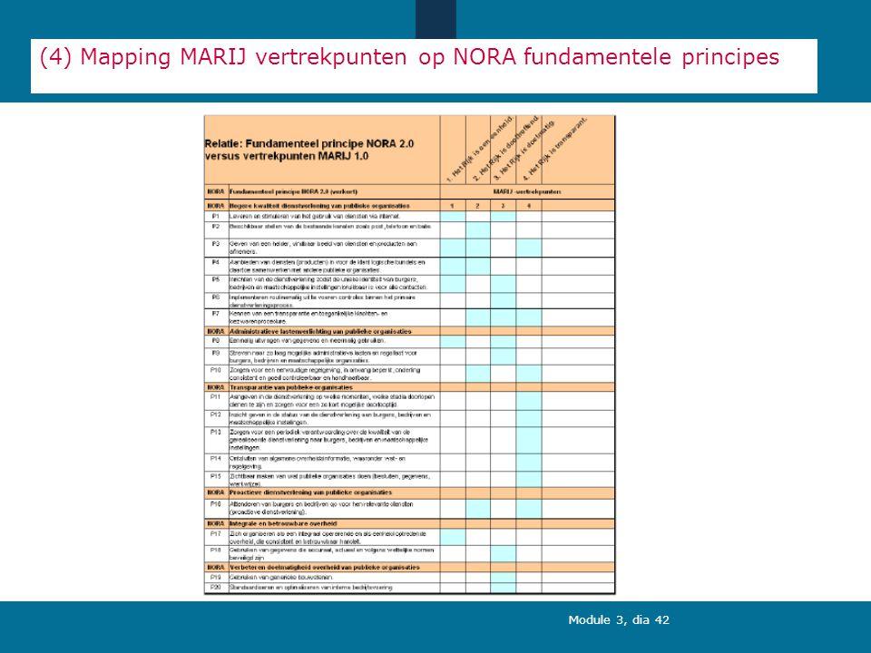 Module 3, dia 42 (4) Mapping MARIJ vertrekpunten op NORA fundamentele principes