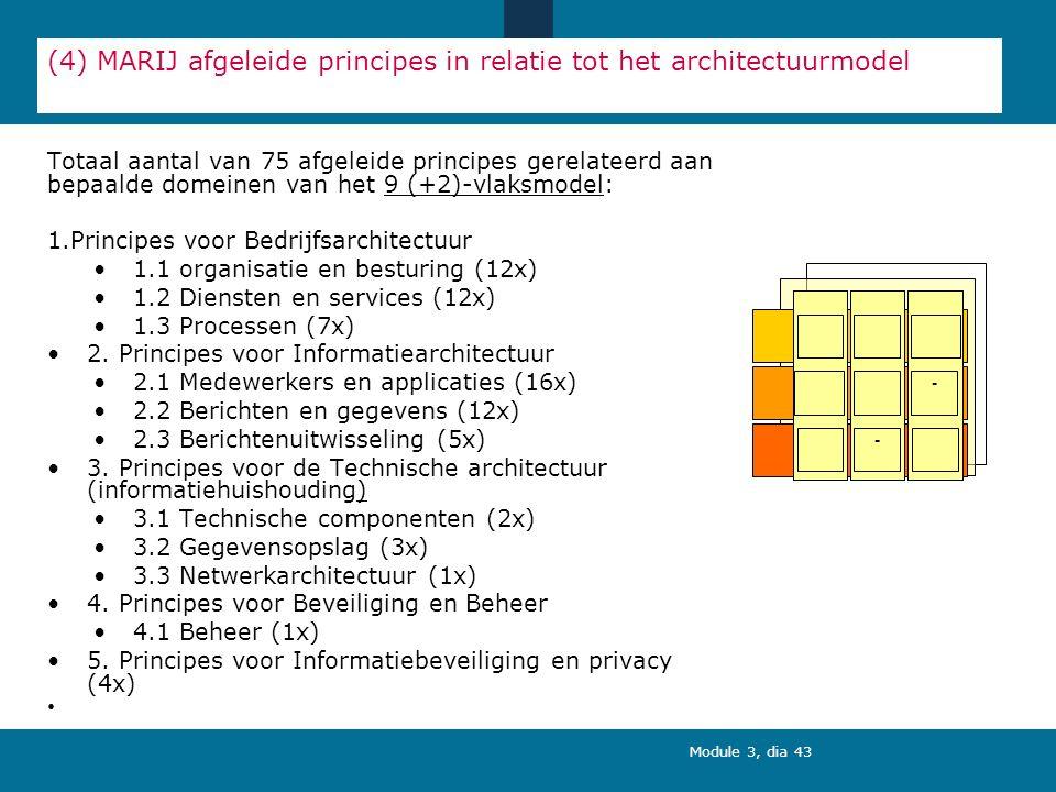 Module 3, dia 43 (4) MARIJ afgeleide principes in relatie tot het architectuurmodel Totaal aantal van 75 afgeleide principes gerelateerd aan bepaalde domeinen van het 9 (+2)-vlaksmodel: 1.Principes voor Bedrijfsarchitectuur 1.1 organisatie en besturing (12x) 1.2 Diensten en services (12x) 1.3 Processen (7x) 2.