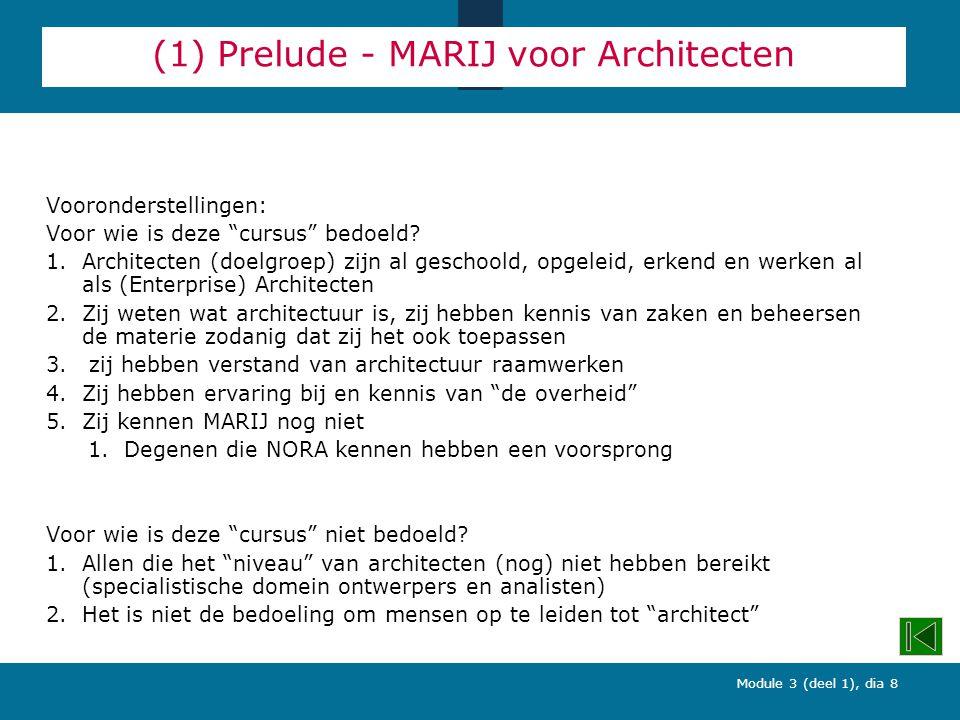 Module 3 (deel 1), dia 8 (1) Prelude - MARIJ voor Architecten Vooronderstellingen: Voor wie is deze cursus bedoeld.
