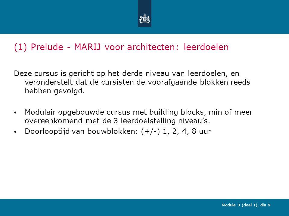 Module 3 (deel 1), dia 9 (1) Prelude - MARIJ voor architecten: leerdoelen Deze cursus is gericht op het derde niveau van leerdoelen, en veronderstelt dat de cursisten de voorafgaande blokken reeds hebben gevolgd.