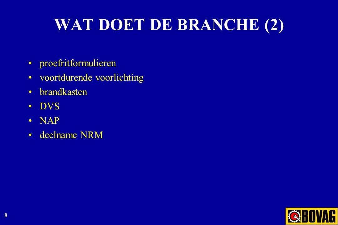 8 WAT DOET DE BRANCHE (2) proefritformulieren voortdurende voorlichting brandkasten DVS NAP deelname NRM
