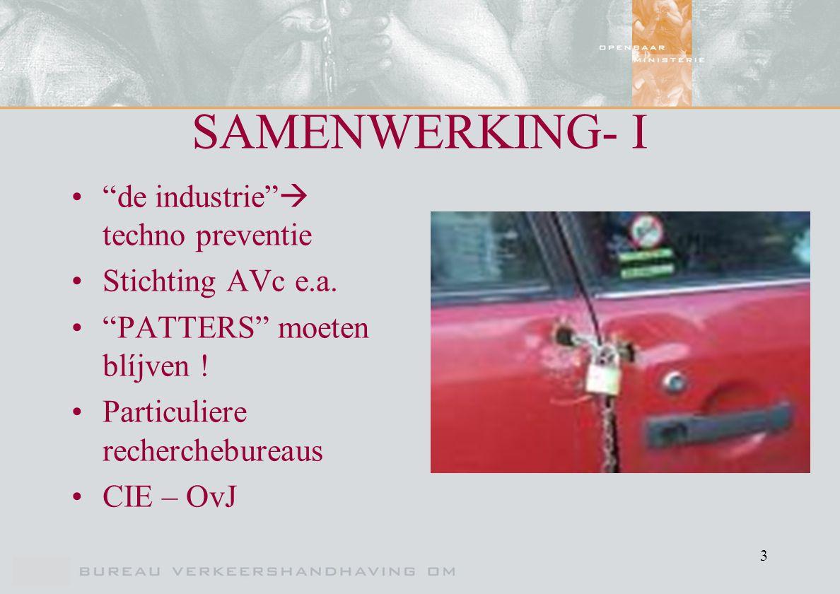 "3 SAMENWERKING- I ""de industrie""  techno preventie Stichting AVc e.a. ""PATTERS"" moeten blíjven ! Particuliere recherchebureaus CIE – OvJ"