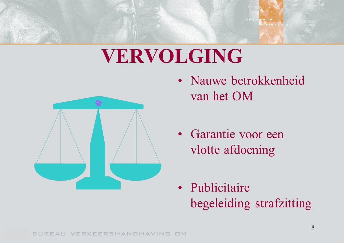 8 VERVOLGING Nauwe betrokkenheid van het OM Garantie voor een vlotte afdoening Publicitaire begeleiding strafzitting