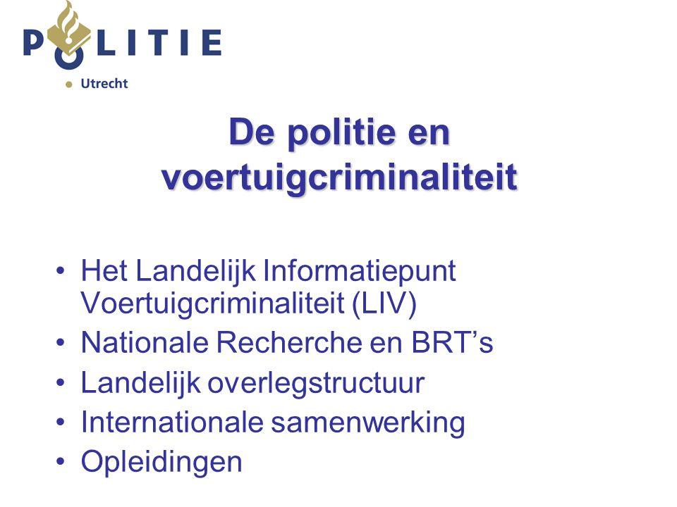 De politie en voertuigcriminaliteit Het Landelijk Informatiepunt Voertuigcriminaliteit (LIV) Nationale Recherche en BRT's Landelijk overlegstructuur Internationale samenwerking Opleidingen
