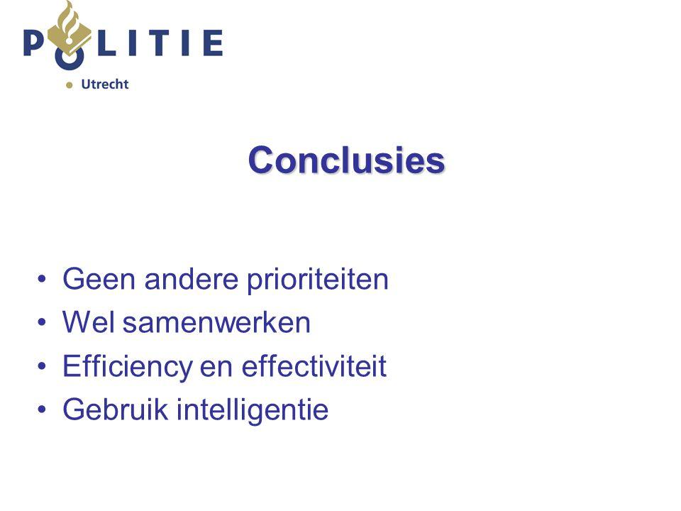 Conclusies Geen andere prioriteiten Wel samenwerken Efficiency en effectiviteit Gebruik intelligentie