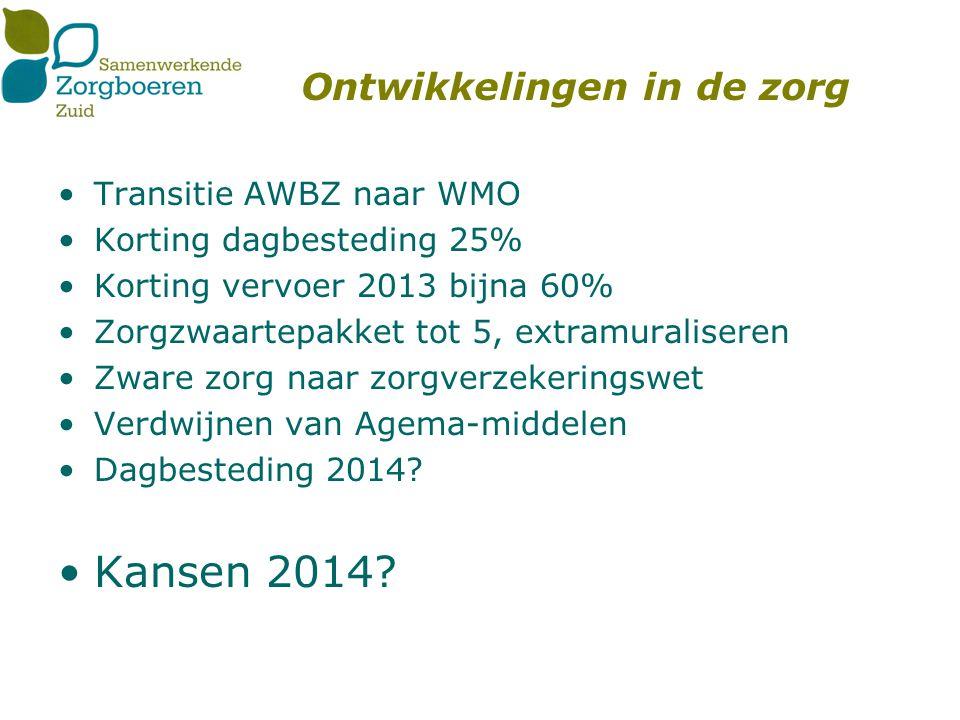 Ontwikkelingen in de zorg Transitie AWBZ naar WMO Korting dagbesteding 25% Korting vervoer 2013 bijna 60% Zorgzwaartepakket tot 5, extramuraliseren Zware zorg naar zorgverzekeringswet Verdwijnen van Agema-middelen Dagbesteding 2014.