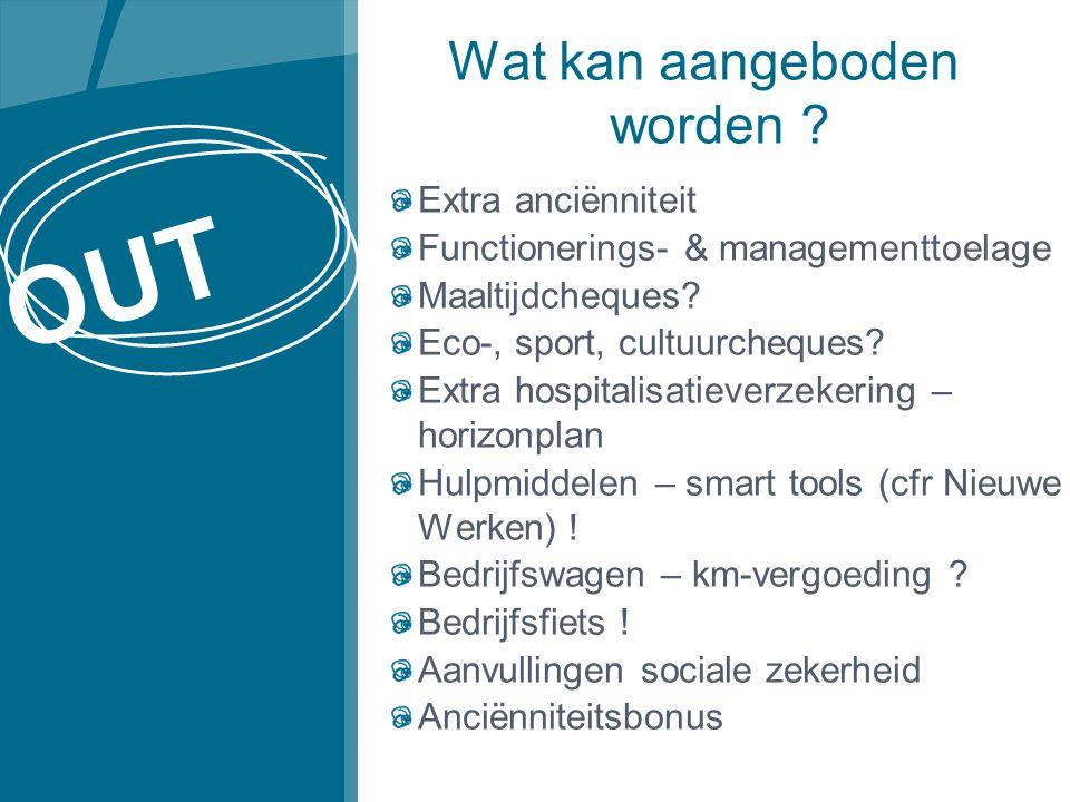 Wat kan aangeboden worden .Extra anciënniteit Functionerings- & managementtoelage Maaltijdcheques.